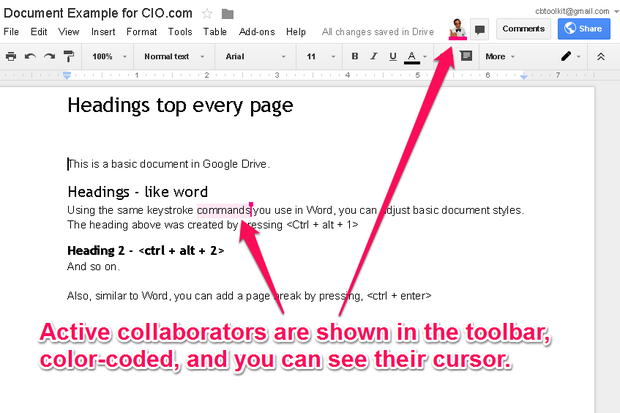 Google Drive live collaboration
