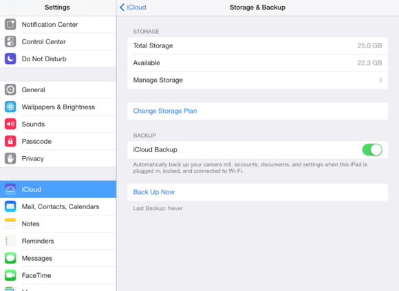 ipad storage and backup