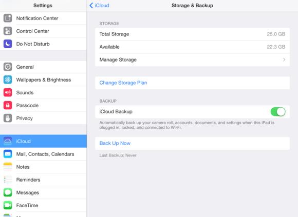 ipad storage and backup
