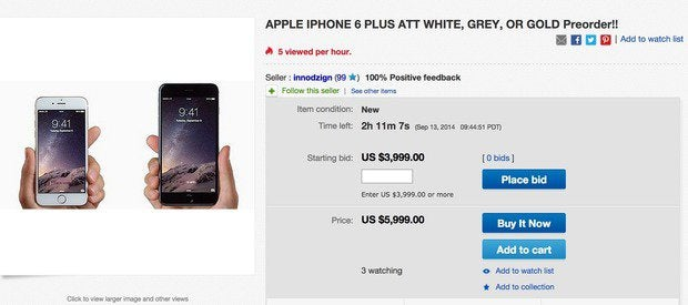iPhone 6 Plus listing