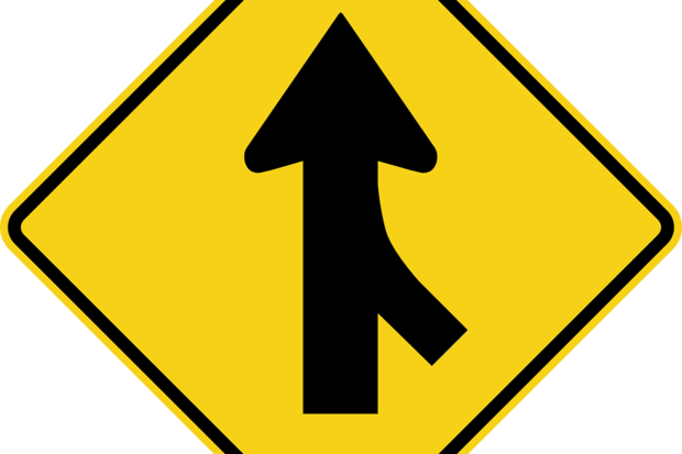 merge road sign route path street