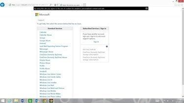 microsoft support.live screenshot
