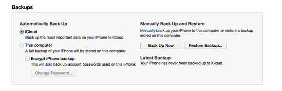 how to delete old back up on iphone 6
