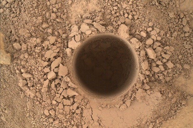Curiosity sample site on Mars