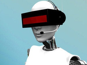 Help desk robot wearing futuristic headset.