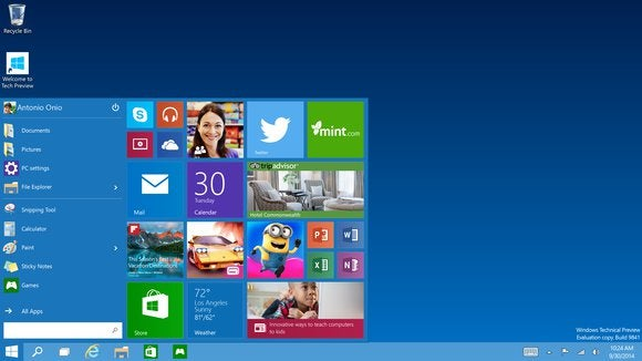 windows10 tech preview start menu