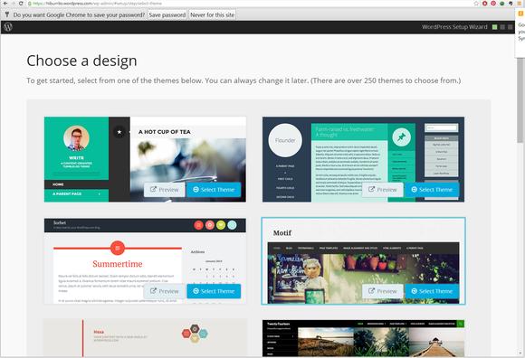 wordpress choose a design