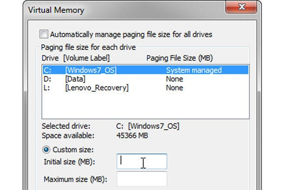 If Windows virtual memory is too low, you can increase it, but there