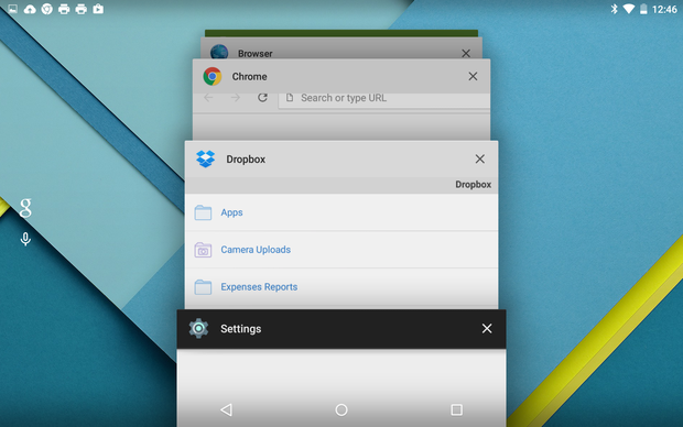 Android 5.0 Lollipop Recents carousel