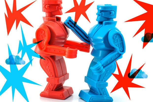 battle cloud robots fight boxing match feud