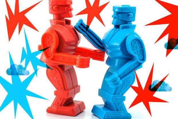 battle cloud robots fight boxing match feud