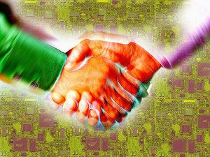 Handshake deal in the semiconductor/computer chip industry