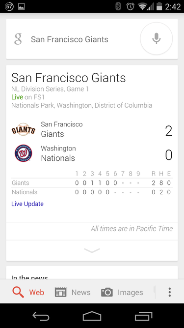 google now giants