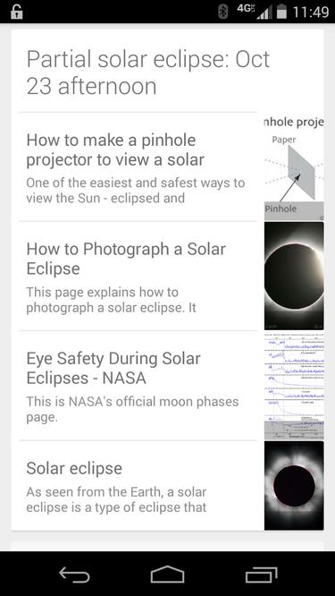 google now solar eclipse