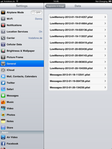 iPad iOS 5 log files found at Settings-General-About-Diagnostics & Usage-Diagnostic & Usage Data
