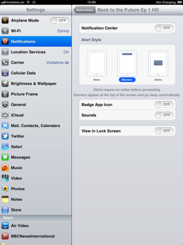 iPad - Turn off Notifications by going to Settings-Notifications and hit Manually