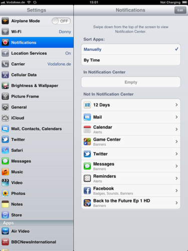 iPad - turning off ALL notifications speeds things up. switch the On-off slider on each app