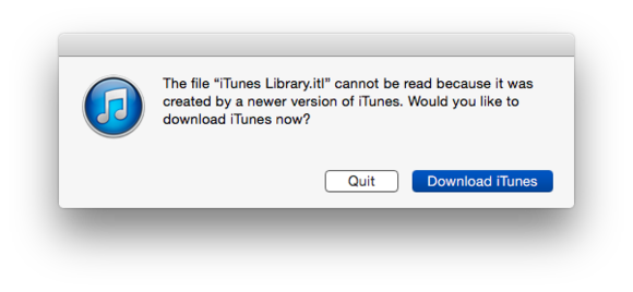 itunes library incompatible