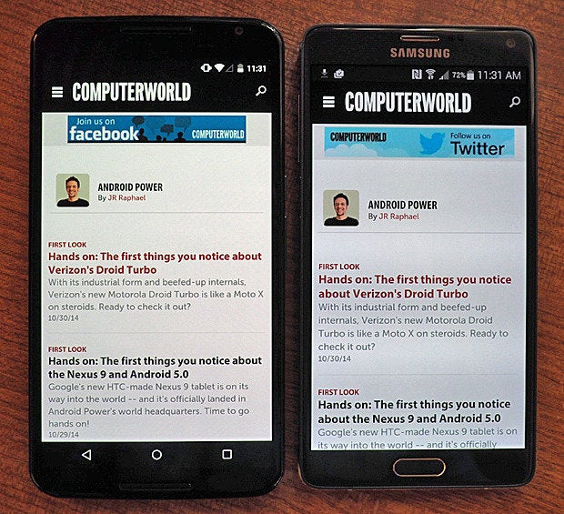 Nexus 6 vs  Galaxy Note 4: Which one's right for you? | Computerworld