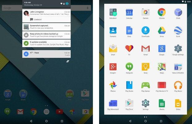 Nexus 9, Android 5.0 Lollipop