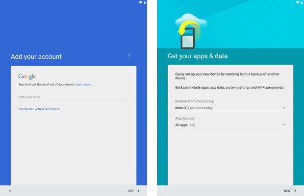 Nexus 9, Android 5.0 Lollipop Setup