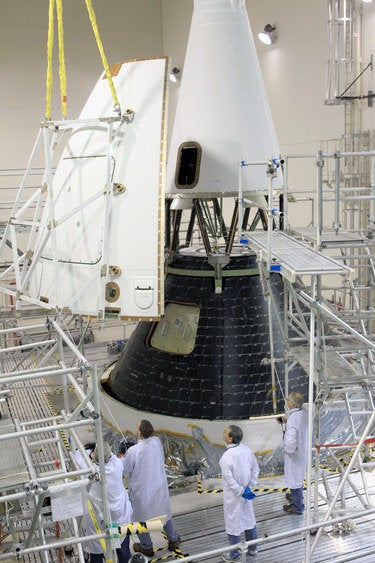 Orion fairing being installed