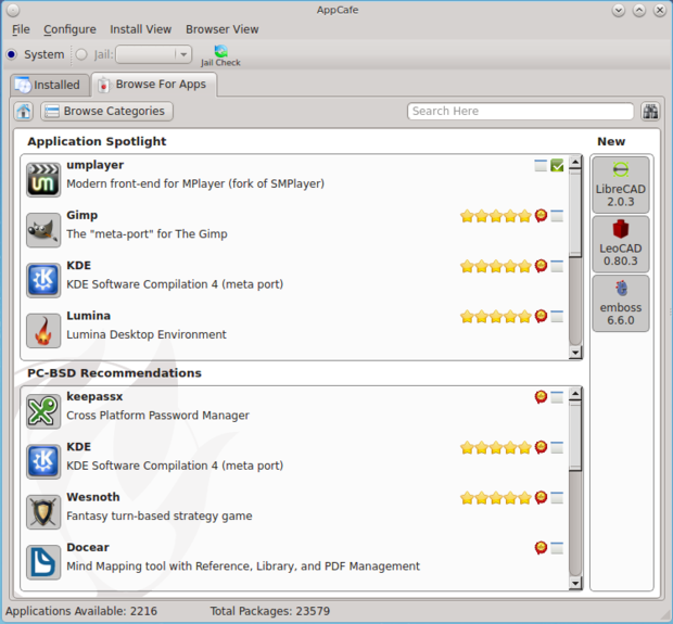 pc bsd 10.0.3 appcafe browse for apps