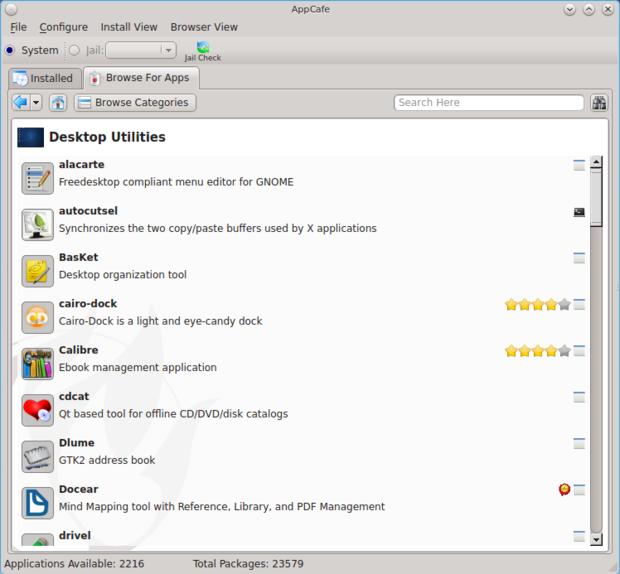 pc bsd 10.0.3 appcafe deskop utilities category