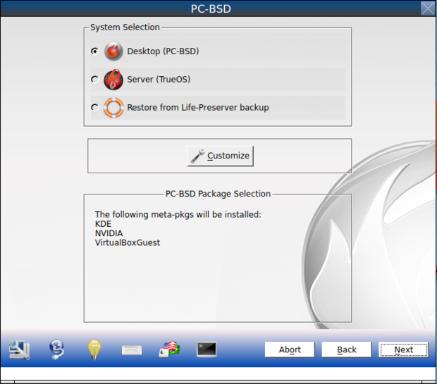 pc bsd 10.0.3 install system selection menu