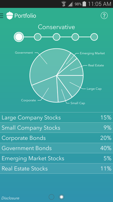 Acorns Android app portfolio allocation conservative