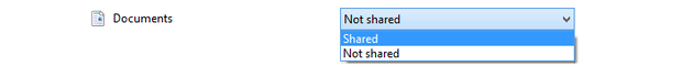 Set Documents combo to Sharing.