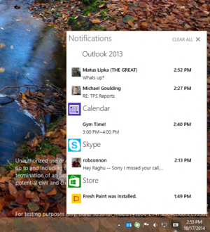 windows 10 notification center