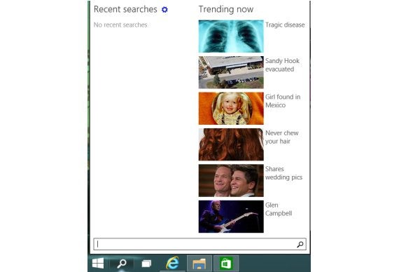 windows10 search trending now