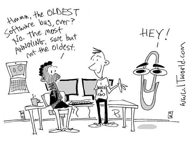 Cartoon showing Microsoft\'s Clippy
