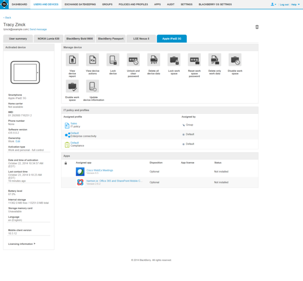 BES12 device management for iOS devices