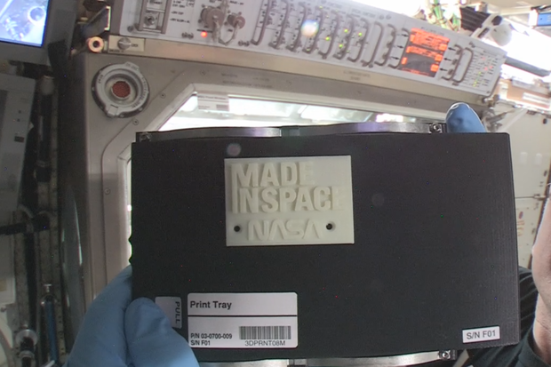 3D printed face plate in space