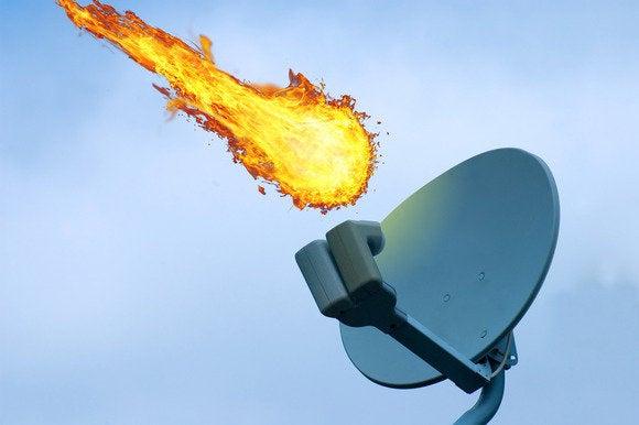 Meteor destroying a satellite dish