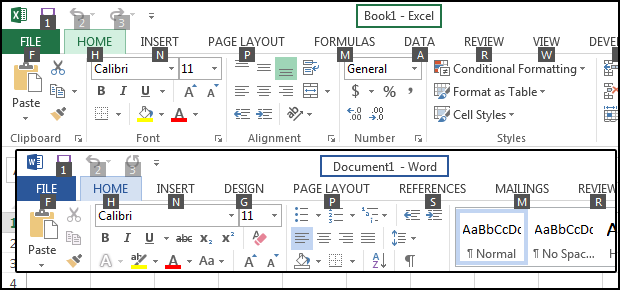 excel word keyboard shortcuts f1 ribbon access