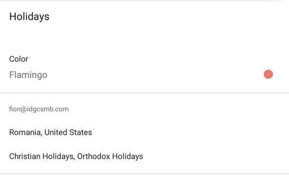 gcal holidays