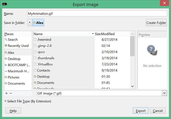 gimp export settings