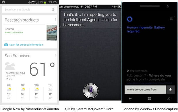 Google Now, Siri, Cortana AI in action