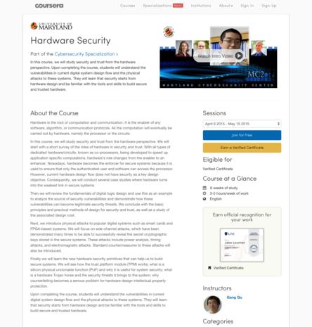 UMD hardware security MOOC