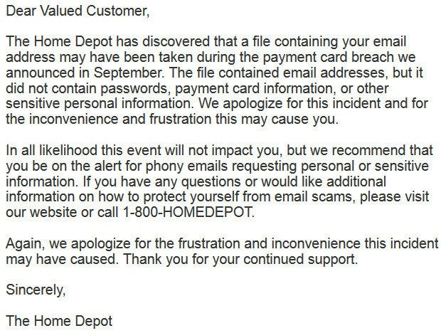 Home Depot emailed notice to customers