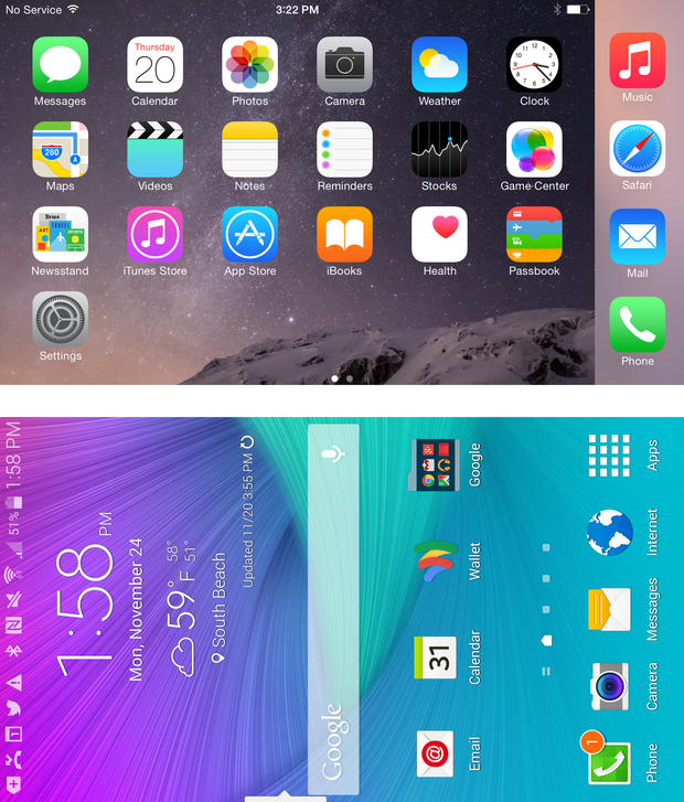 iPhone 6 Plus and Galaxy Note 4 home screens rotated