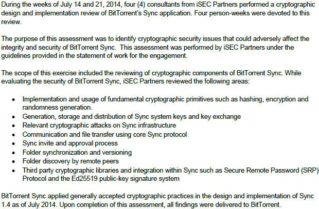 iSEC Partners security assessment of BitTorrent Sync