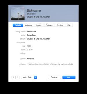 itunes 12 info window