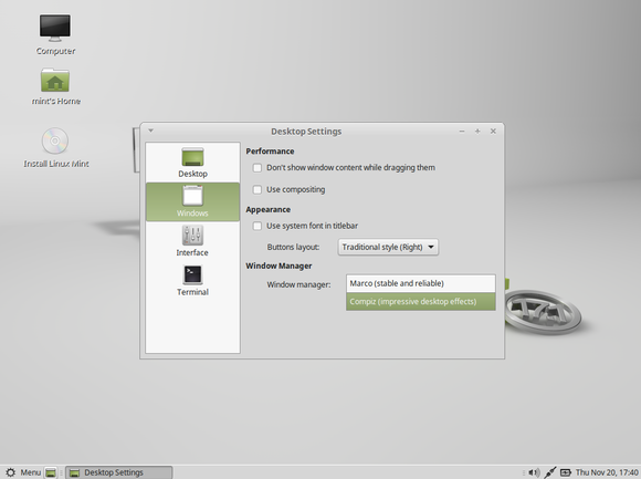 linux mint 17.1 choose compiz