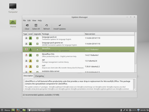 linux mint 17.1 update manager on cinnamon