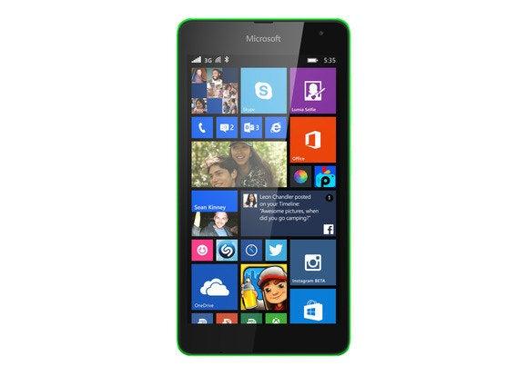 Microsoft lumia 535 front green