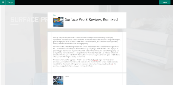 microsoft sway 2 layout